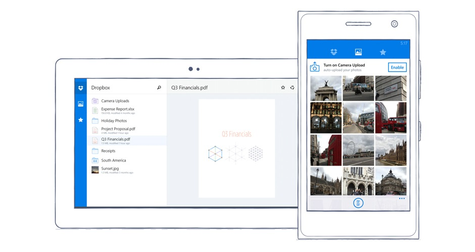Dropbox na Windows Phone / fot. The Dropbox Blog