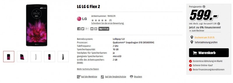 LG G Flex 2 w MediaMarkt / fot. MediaMarkt