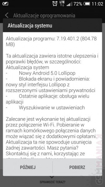 Lollipop dla HTC One M7 / fot. gsmManiaK