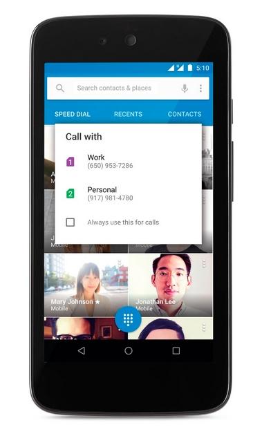 Android 5.1 Lollipop - tryb wielu kart SIM / fot. Google