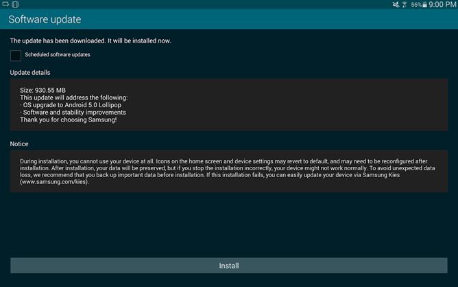 Lollipop dla Galaxy Tab S / fot. AndroidPolice