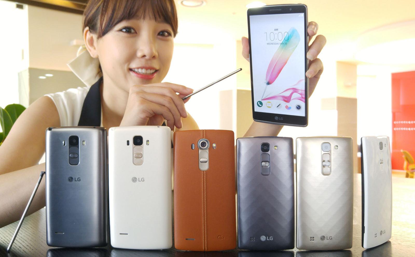 Od lewej: LG G4 Stylus, LG G4, LG G4c