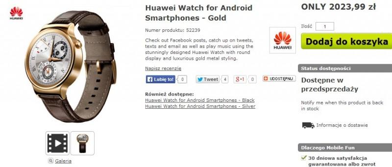 Huawei Watch / fot. MobileFun