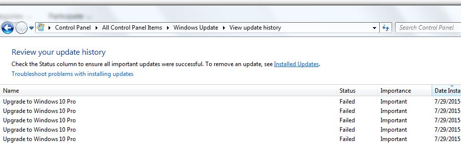 Windows 10 Failed / fot. answers.microsoft.com