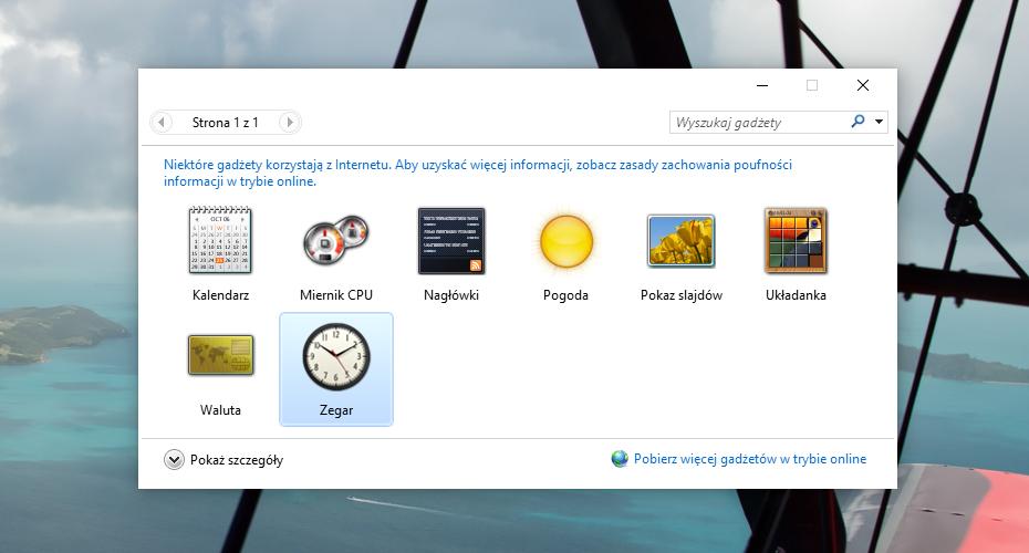 Gadżety pulpitu w Windows 10 / fot. galaktyczny.pl