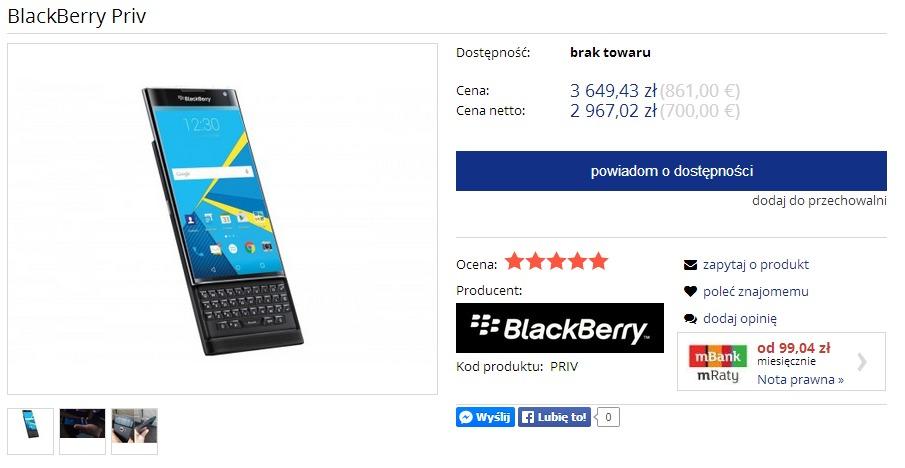 BlackBerry Priv / fot. BBsklep