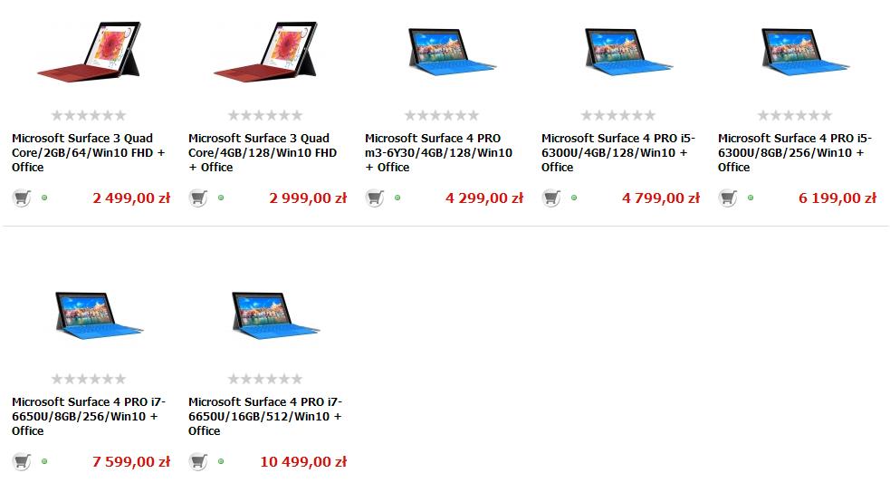 Ceny Surface 4 Pro / fot. X-KOM