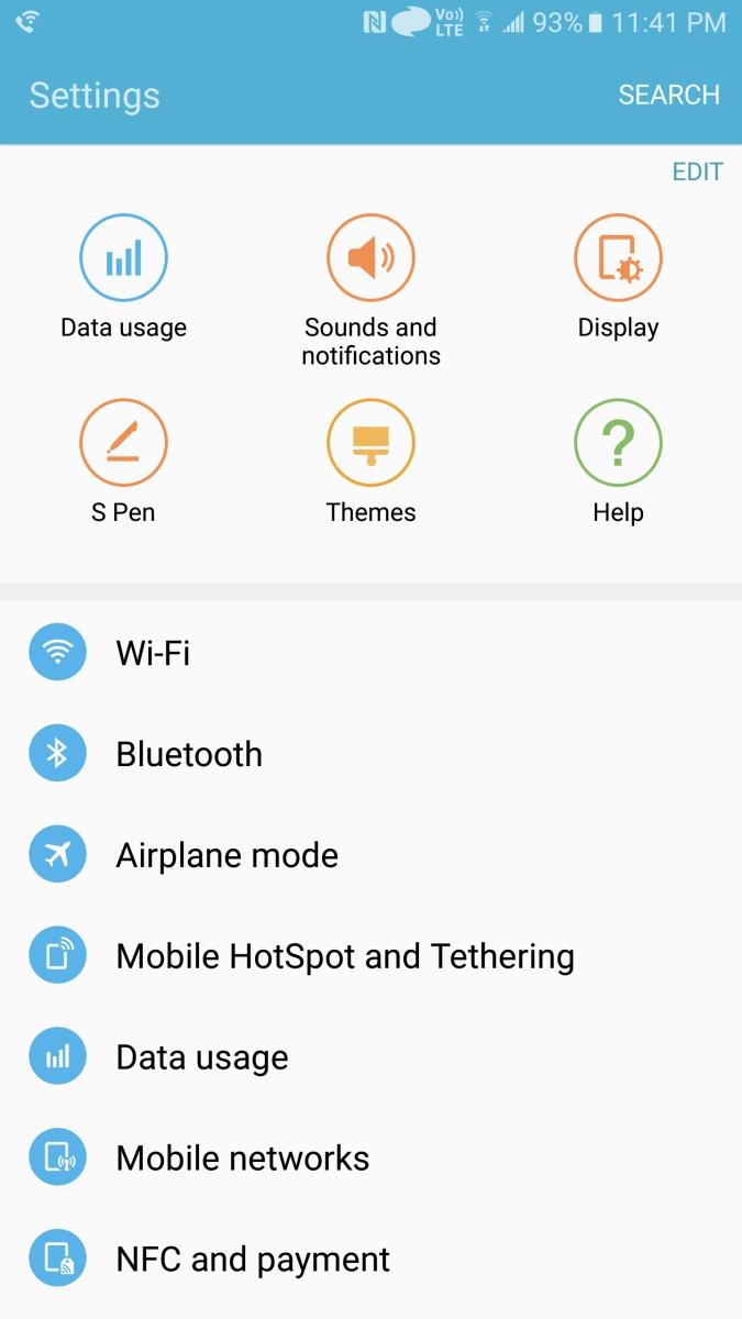 Galaxy Note 5 - ustawienia w Marshmallow / fot. XDA
