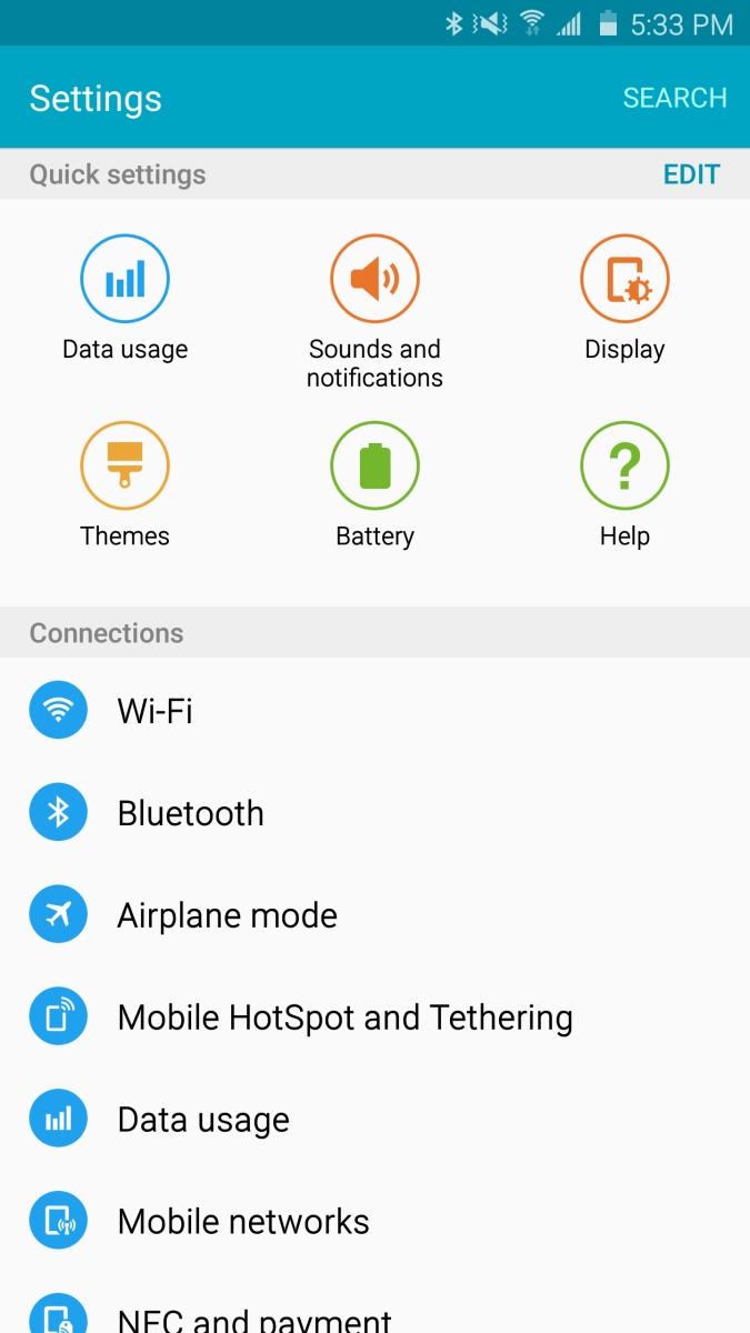 Galaxy Note 5 - ustawienia w Lollipop / fot. XDA