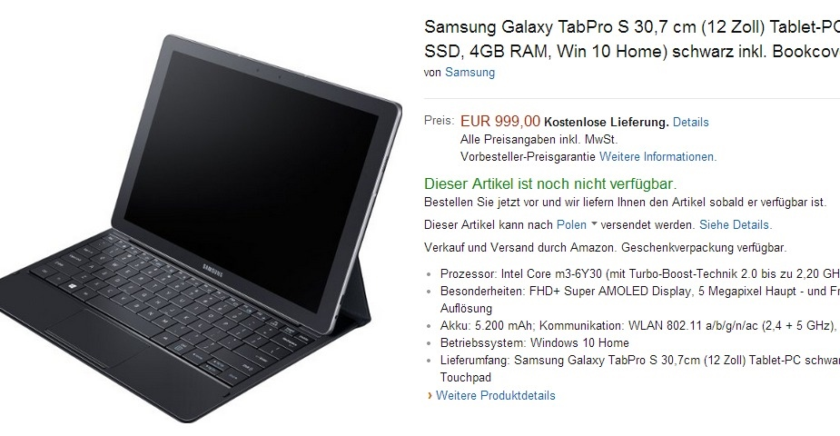 Samsung Galaxy TabPro S w Amazon.de / fot. Amazon