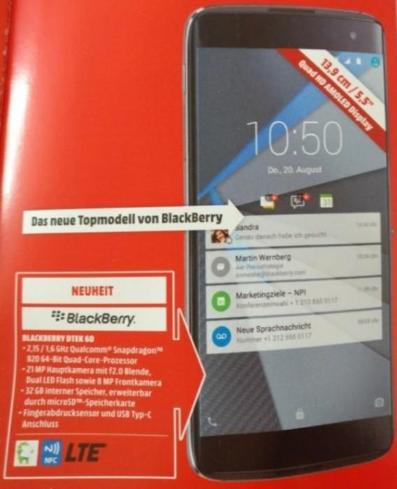 Blackberry DTEK60 / fot. GSMArena