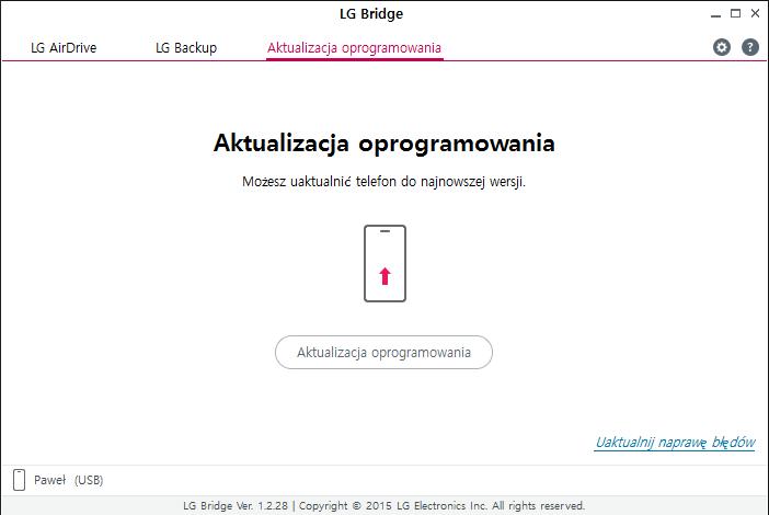 Aktualizacja w LG Bridge