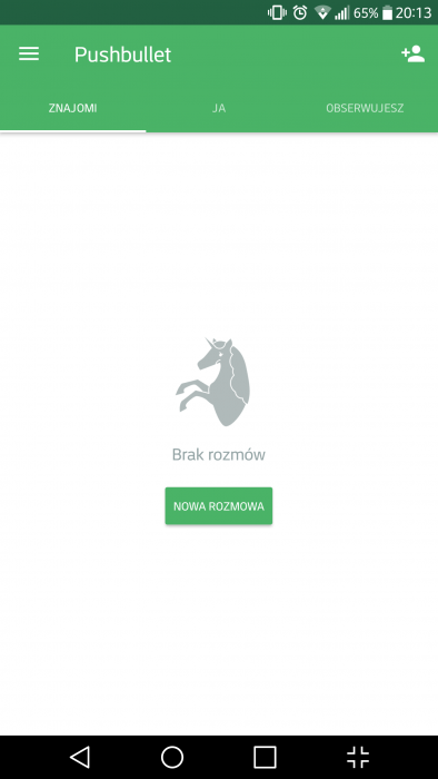 Pushbullet - Okno aplikacji