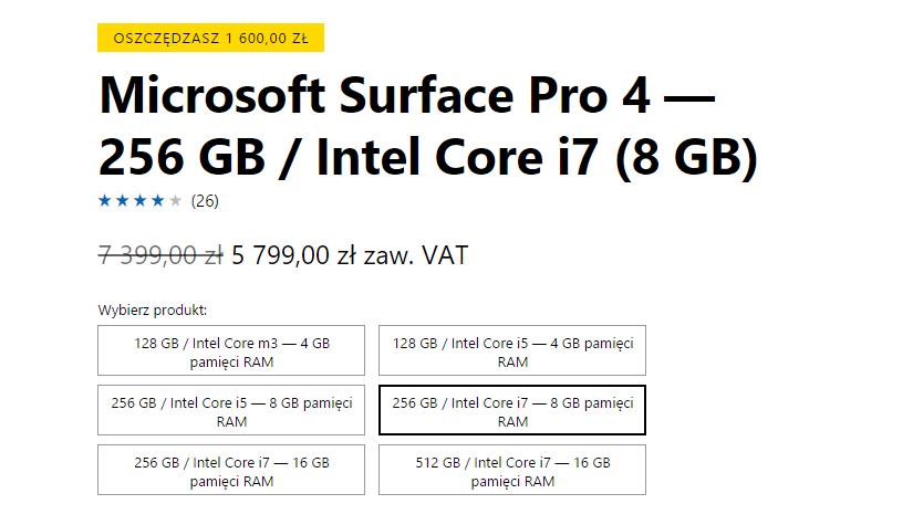 Promocja na Surface Pro 4