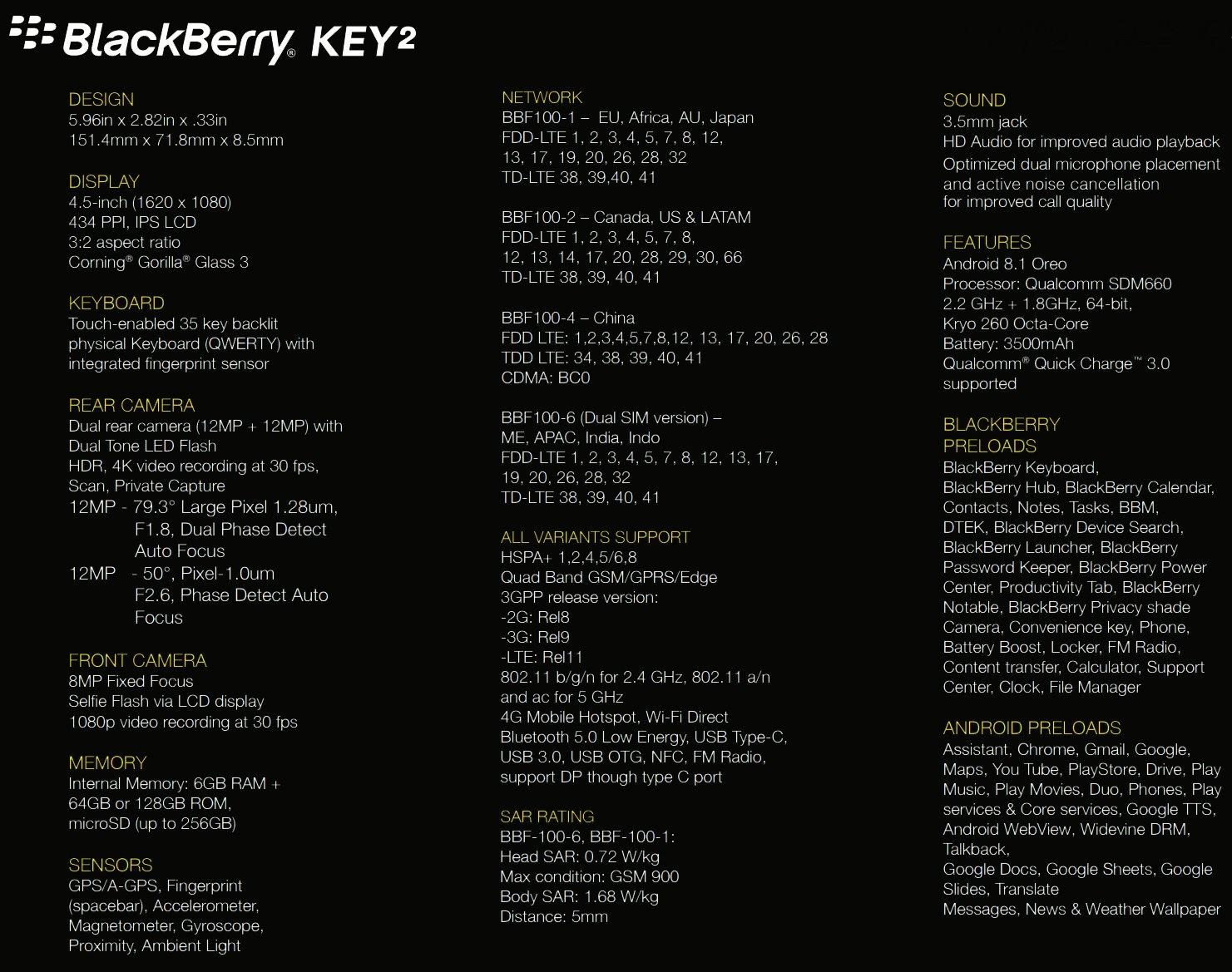 BlackBerry KEY2 - specyfikacja