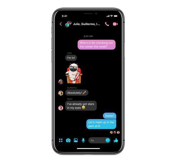 Tryb nocny w Messengerze
