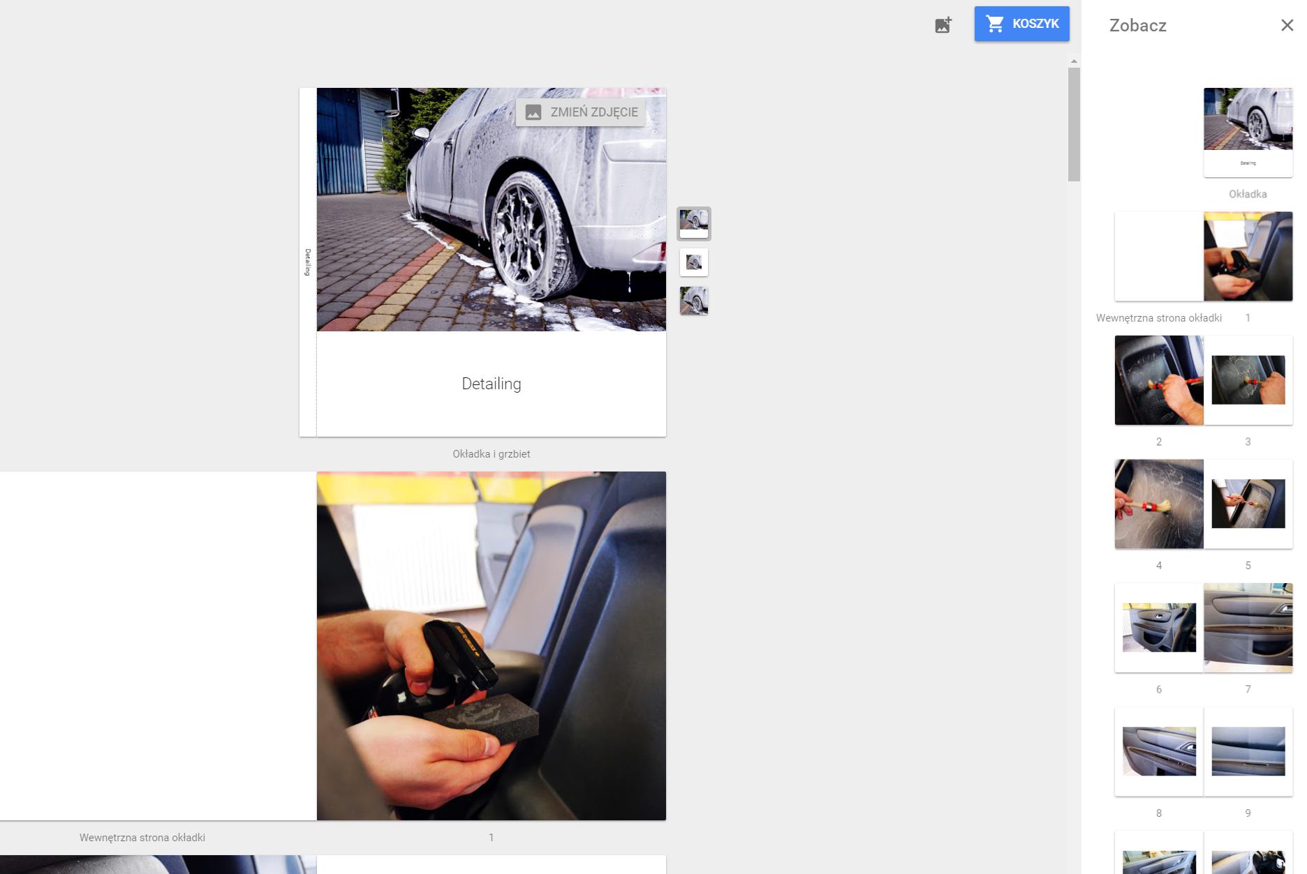 Fotoksiążka Google - tryb tworzenia