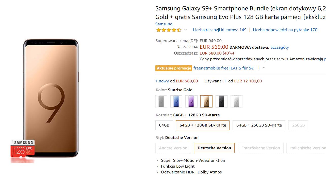 Samsung Galaxy S9+ w promocji na Amazonie