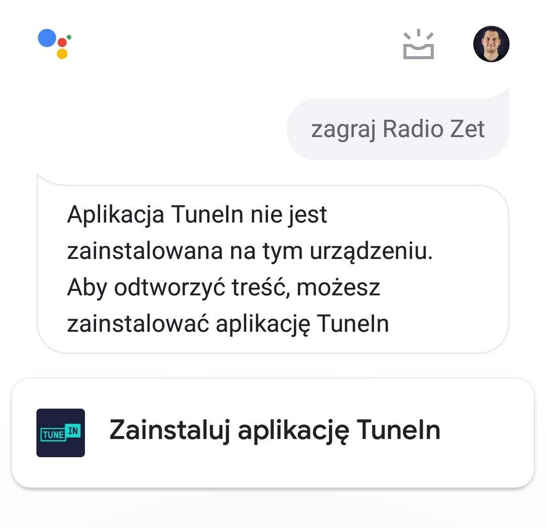 Asystent Google - podpowiedź z aplikacją