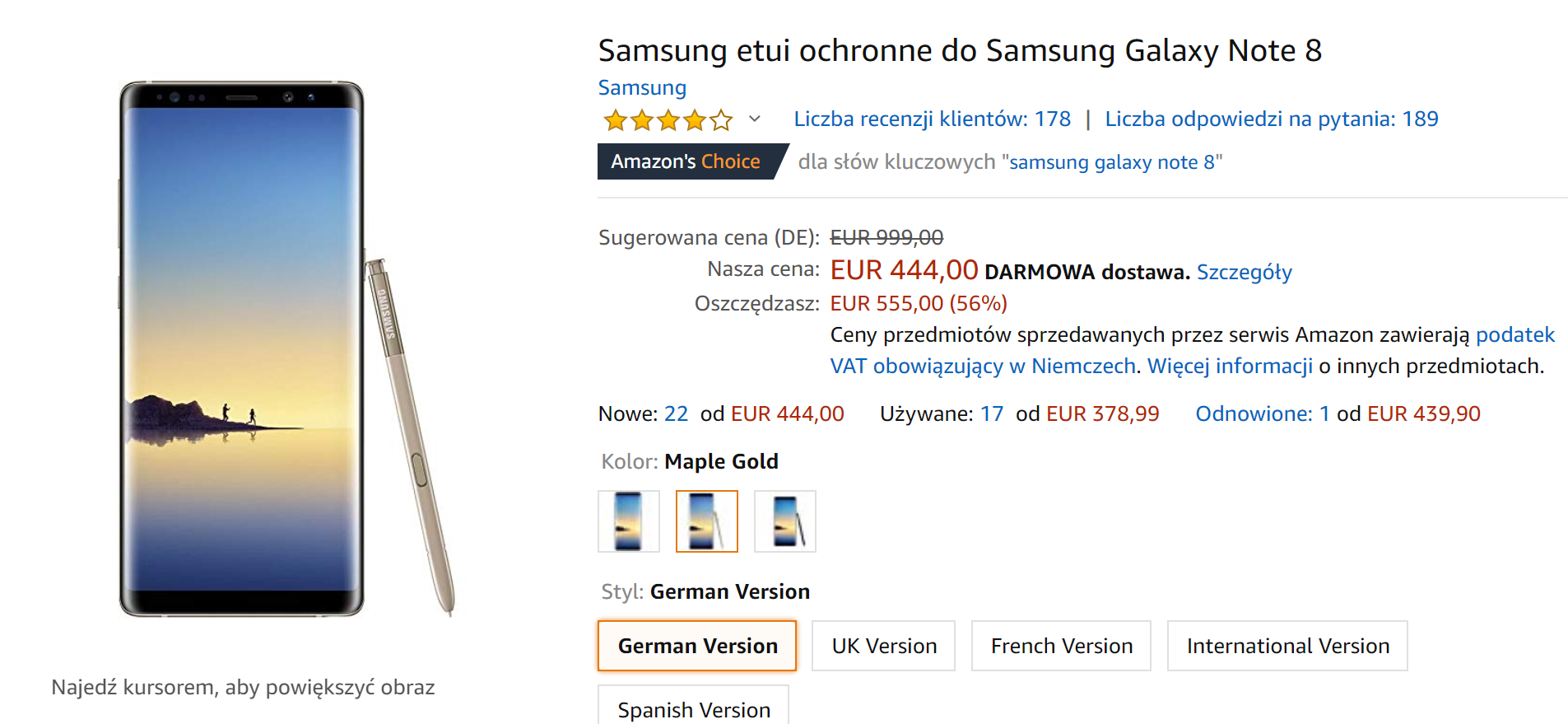 Galaxy Note 8 na Amazon.de