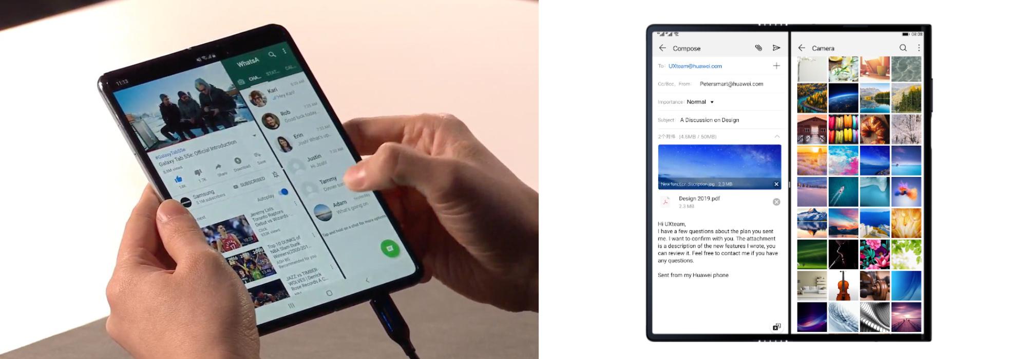 Wielozadaniowość w Samsungu Galaxy Fold (po lewej) i w Huawei Mate X (po prawej)