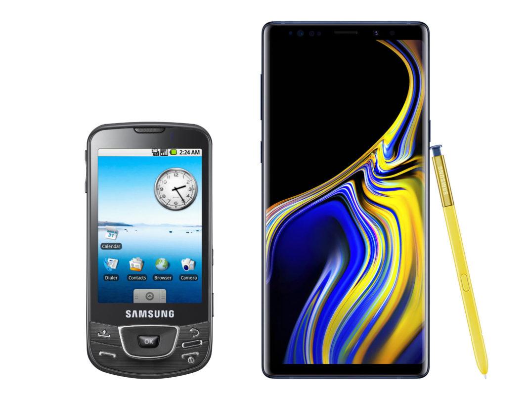 Samsung Galaxy I7500 (po lewej), Samsung Galaxy Note 9 (po prawej)
