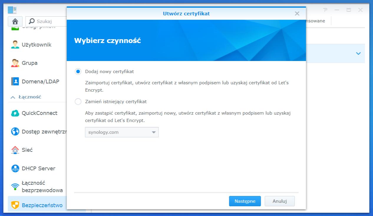 Dodawanie nowego certyfikatu SSL do serwera
