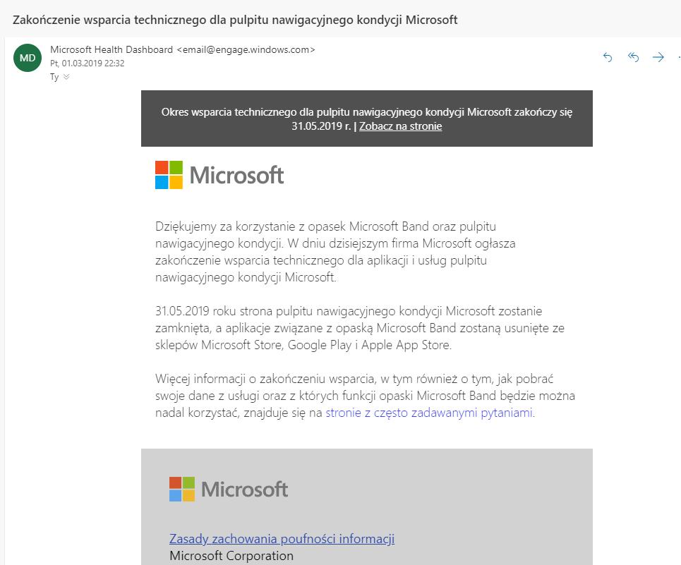 Microsoft Band - koniec wsparcia
