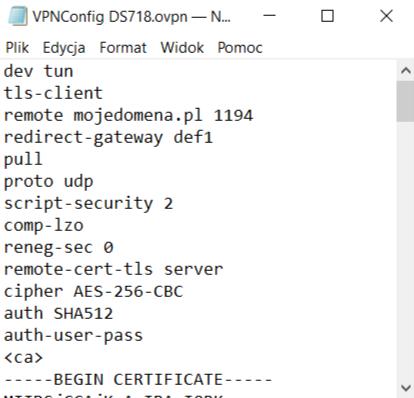 Przykład poprawnie skonfigurowanego pliku konfiguracyjnego OpenVPN (początek pliku)