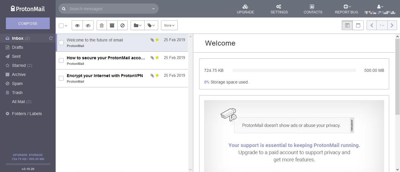 ProtonMail - wygląd skrzynki