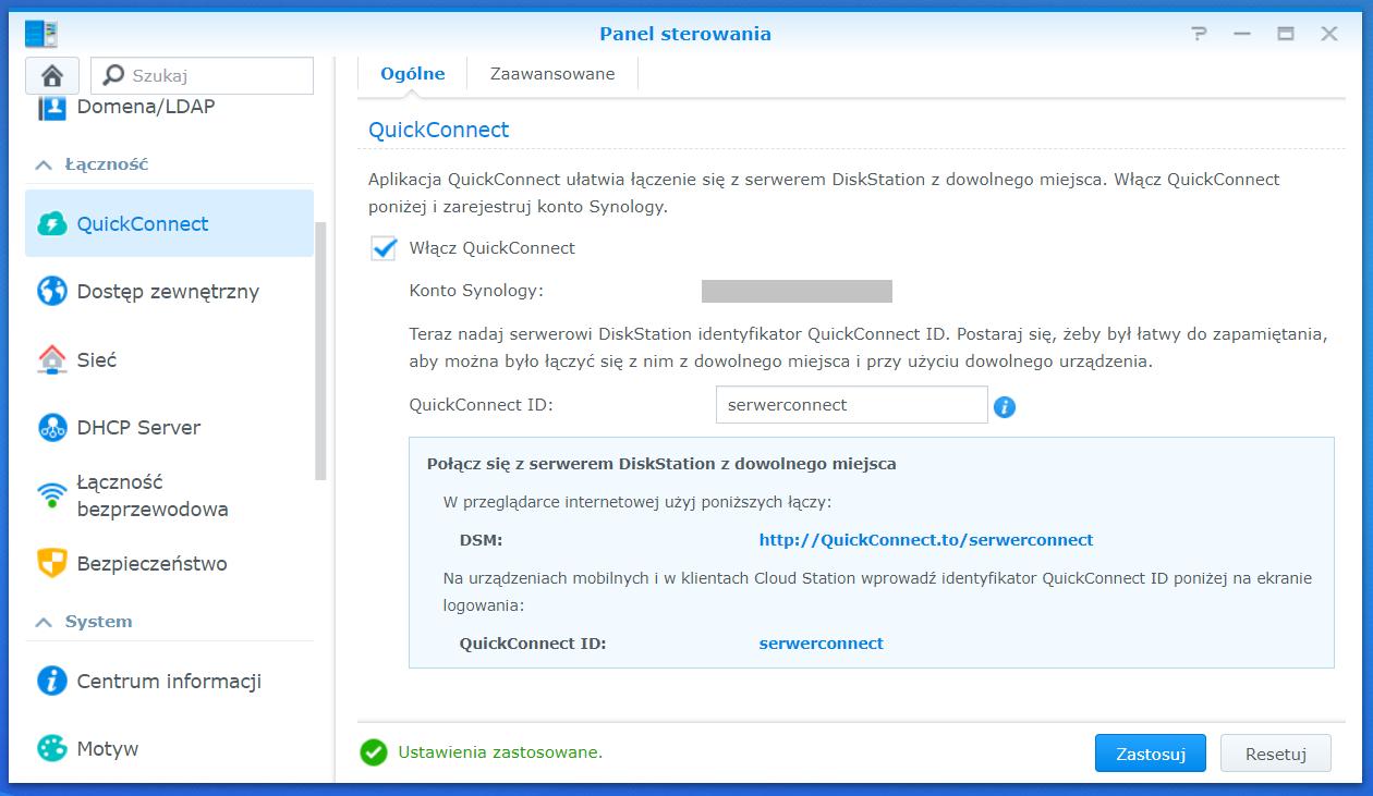 Włączona usługa Synology QuickConnect