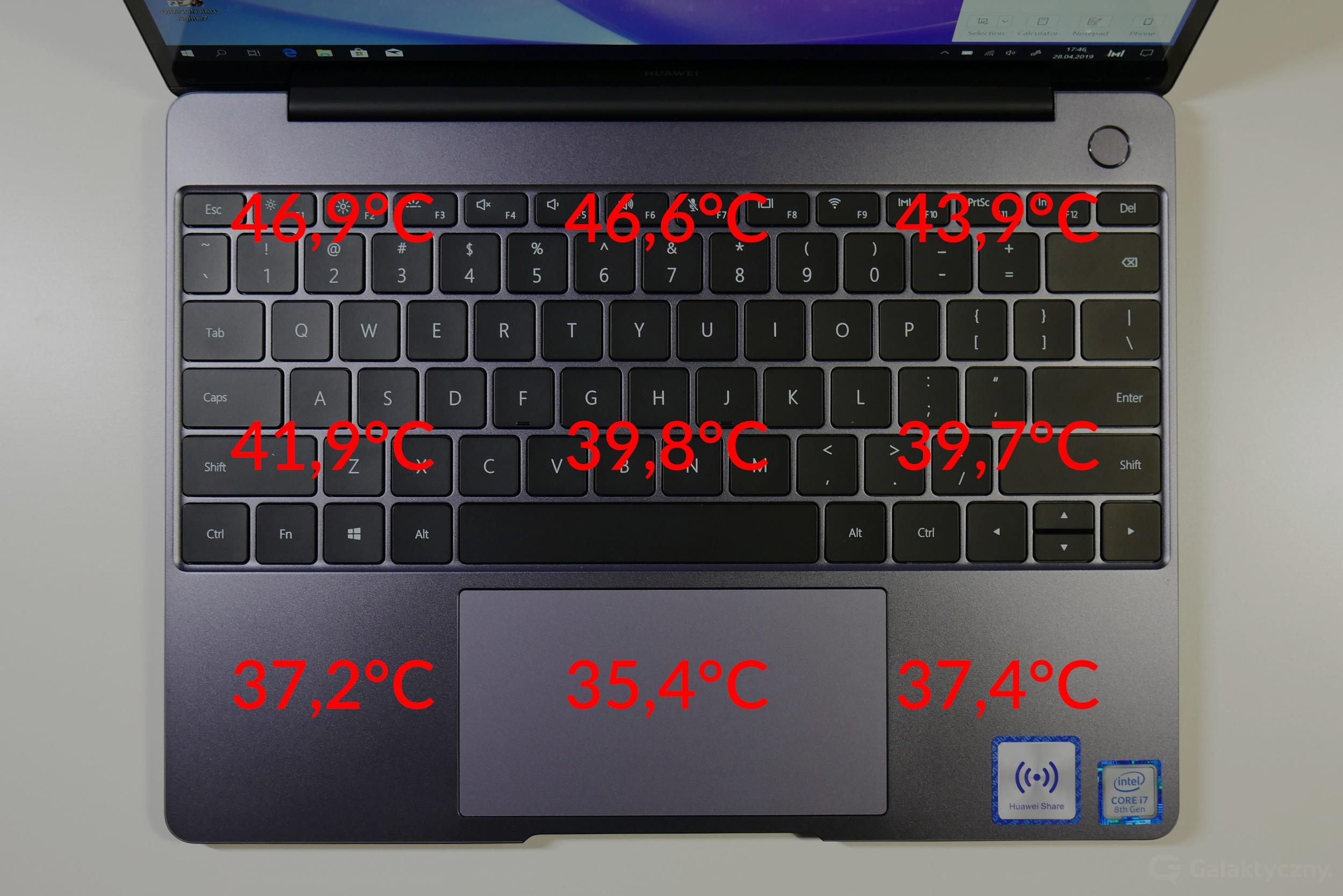 Huawei MateBook 13 - temperatury