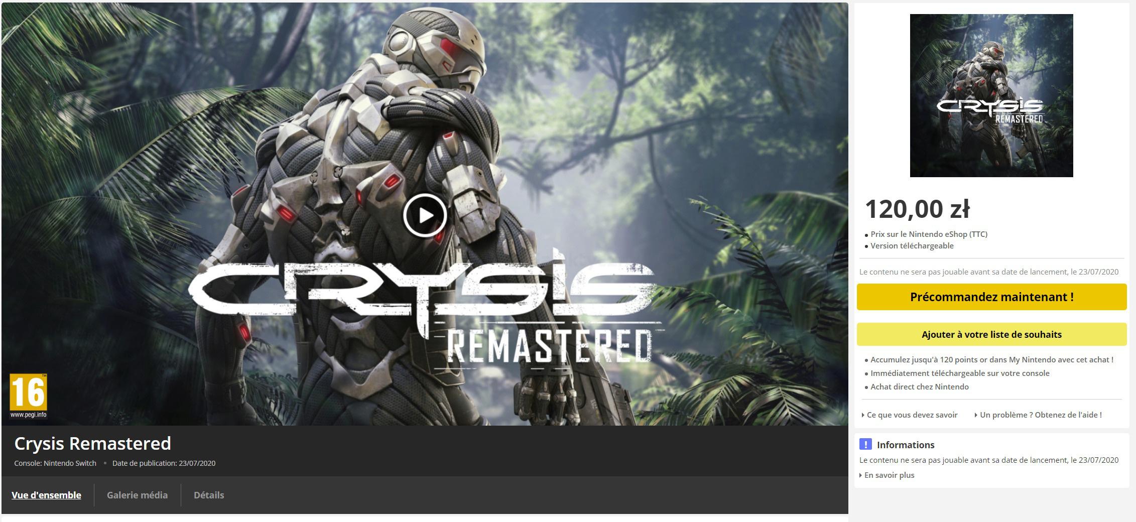Crysis Remastered na Nintendo Switch