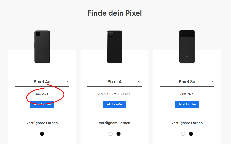 Cena Google Pixel 4a w Google Store