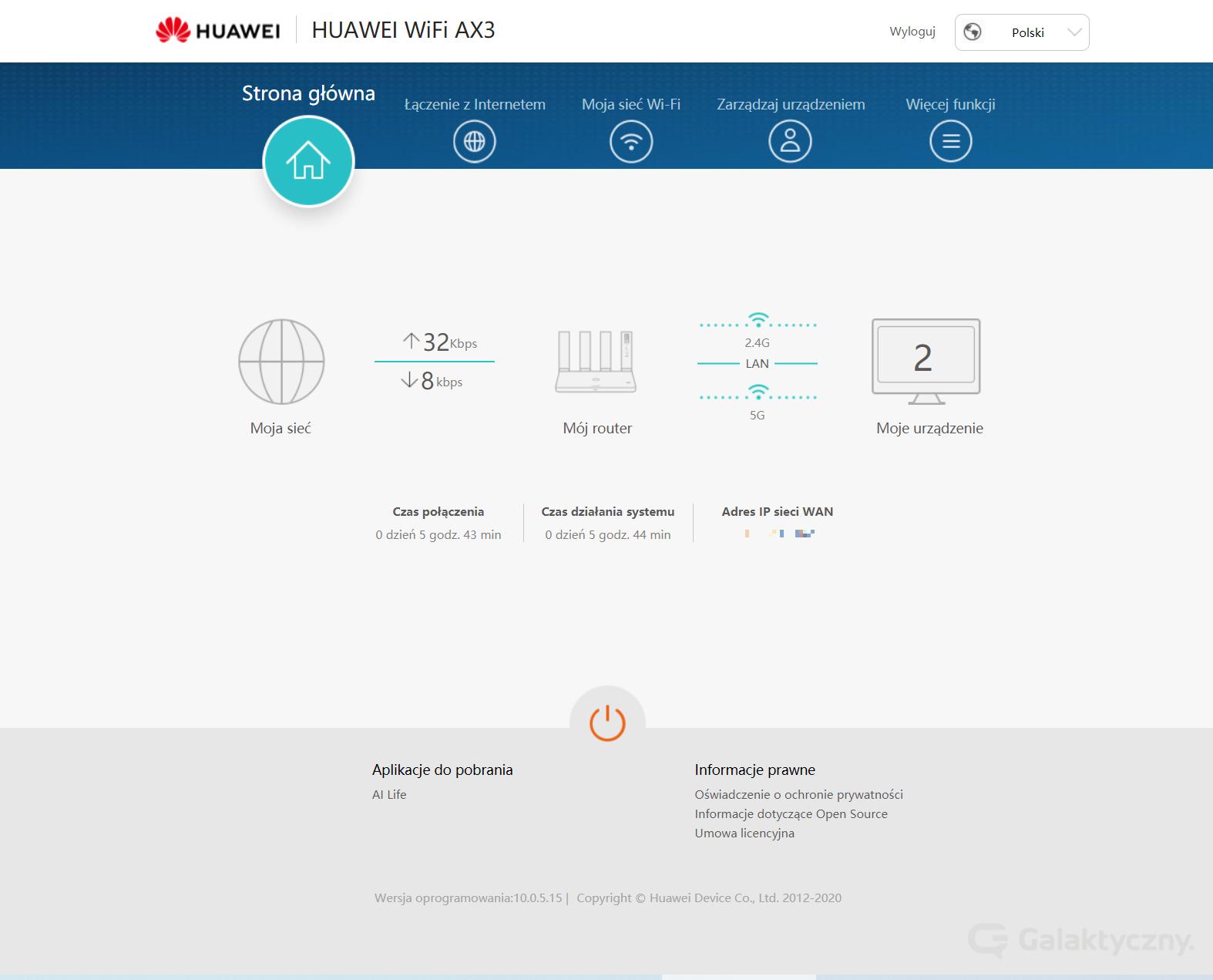 Huawei WiFi AX3 - Strona główna