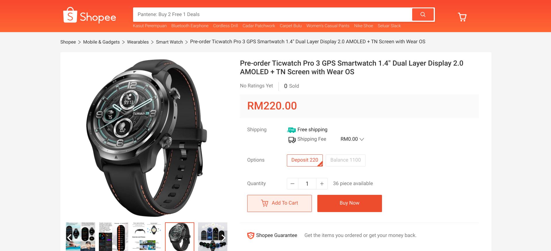 TicWatch Pro 3 w Shopee