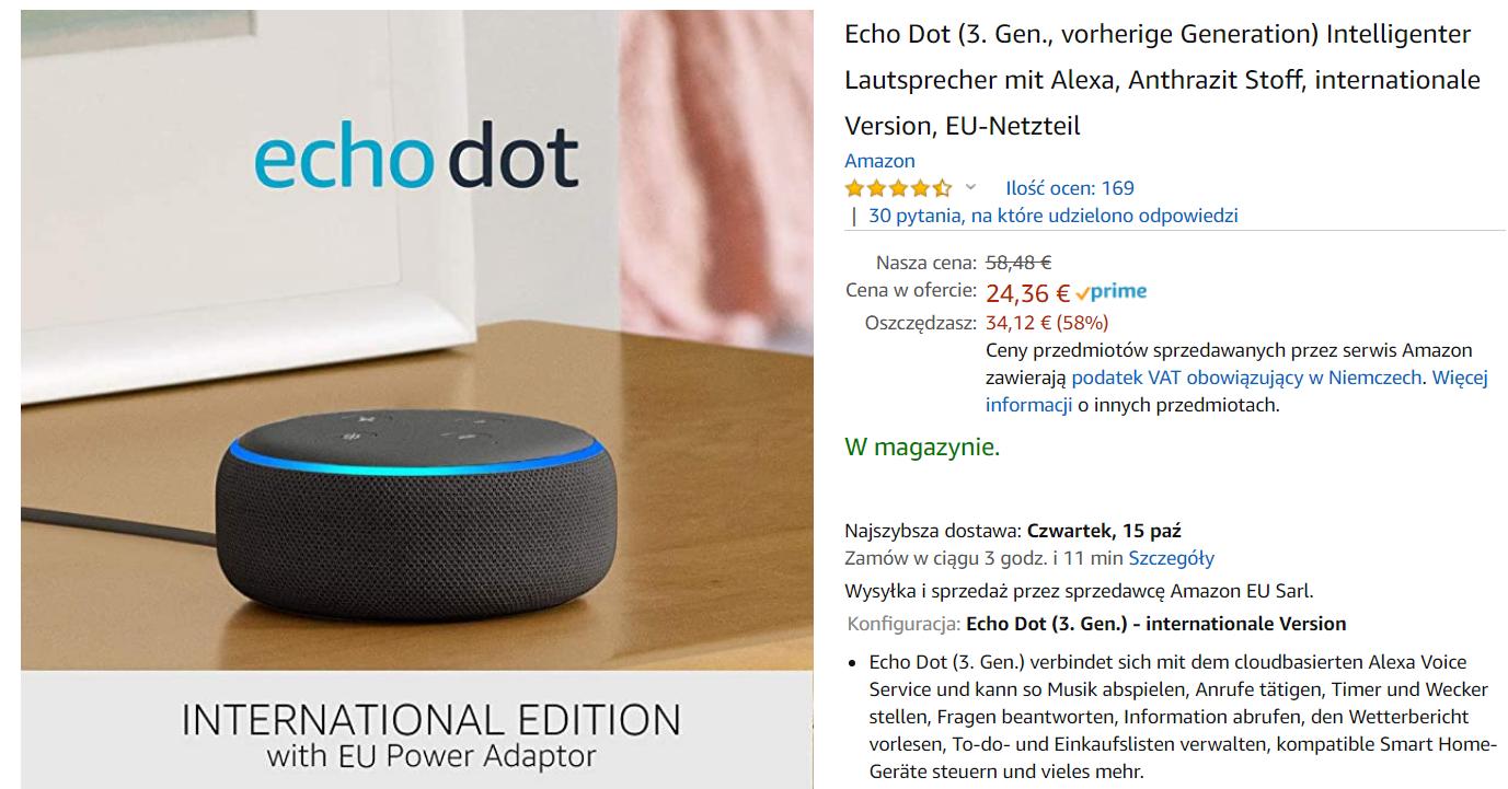 Amazon Echo Dot 3. Gen w promocji