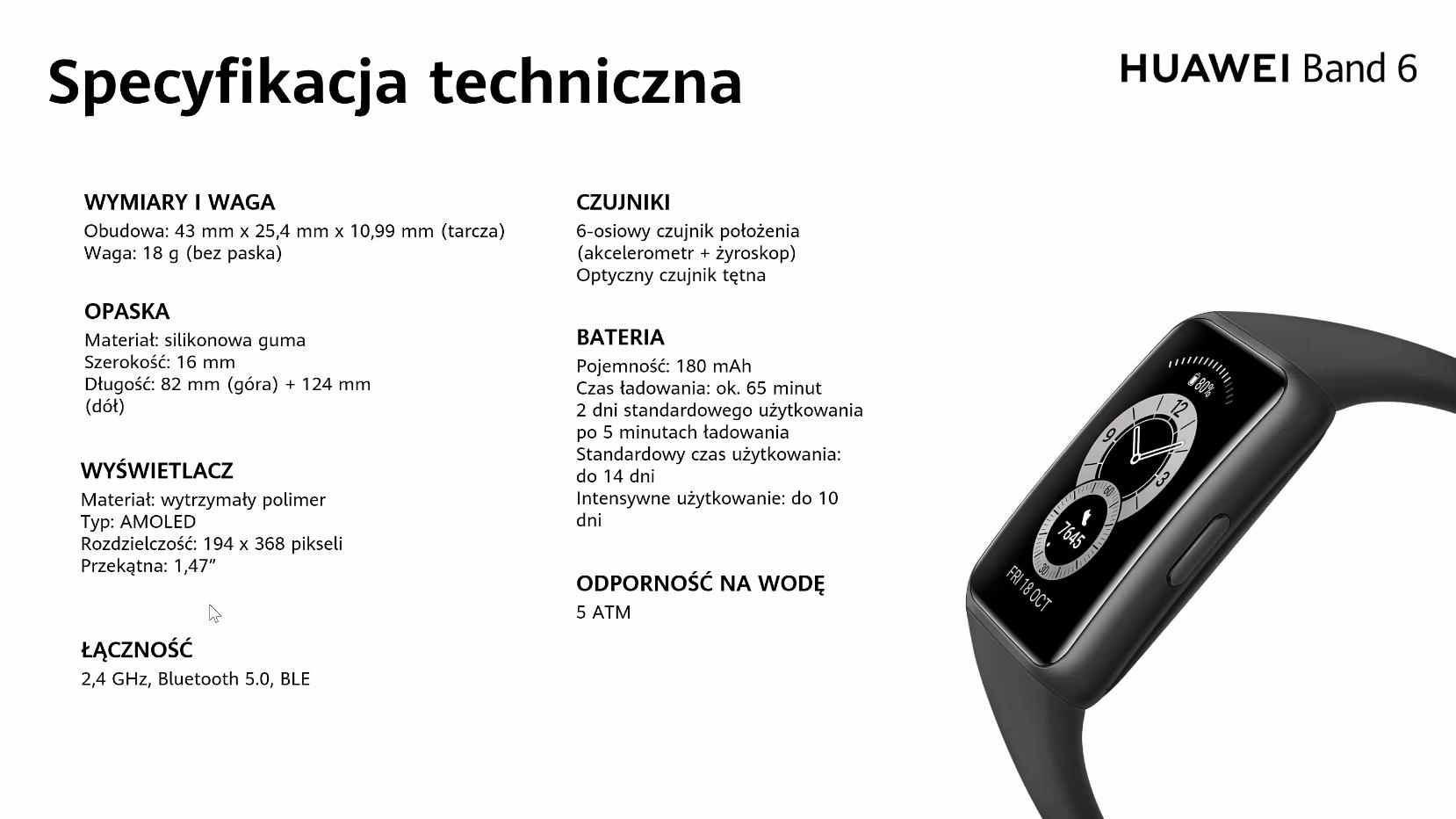 Huawei Band 6 - specyfikacja